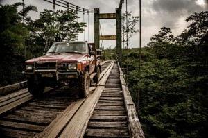 Honduras bridge with truck driving on it
